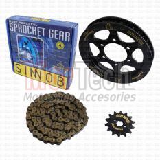 Gear set Rantai Chain Kit Sinnob Premium Motor Ninja 150 RR Hitam