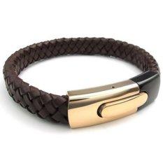 Gelang Borgol Stainless Steel haid kulit jepitan emas coklat hitam - 20.32 cm 21.59 cm 22.86 cm