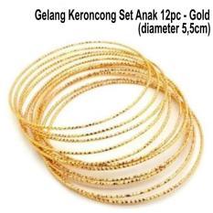 Gelang Keroncong ANAK - Gelang Emas / Gold Imitasi Anti Karat - 12pc