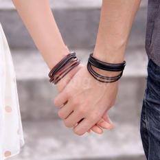 Gelang Kulit Pria Wanita - New Fashion Jewelry Wrap multilayer Leather Bracelets & Bangles For Men And Women - X001 - Coklat