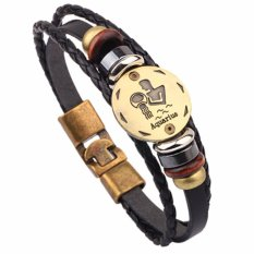 LRC Gelang Tangan Vintage Black Aquarius Pattern Decorated Multilayer Simple Bracelet