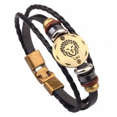 LRC Gelang Tangan Vintage Black Leo Pattern Decorated Multilayer Simple Bracelet