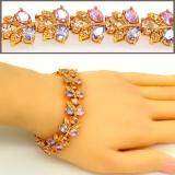 Harga Gelang Untuk Wanita China 18 Kb Nyata Berlapis Emas Kristal Austria Berlian Imitasi Fashion Perhiasan Gelang Hadiah Seken