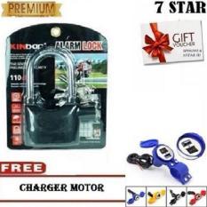 Gembok Kinbar Anti Maling Gembok Alarm RING PANJANG ORIGINAL 100% Suara Mantap + FREE Charger Motor 1Pcs