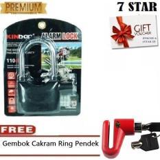 Gembok Kinbar Anti Maling Gembok Alarm RING PANJANG ORIGINAL 100% Suara Mantap + FREE Gembok Cakram Ring Pendek 1Pcs