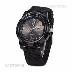 Gemius Army Jam Tangan Pria Military Analog Sport Canvas Belt Luminous Quartz Men Wrist Watch - BLACK