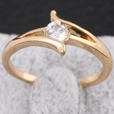 Batu Permata Hias Pernikahan Cincin Kawin Dgn Permata 18 Karat Lempengan Emas 18mm-Internasional