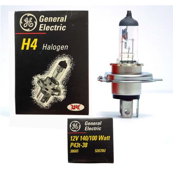 General Electric Bohlam Halogen H4 GE 12V 140/100W P43t-38 Headlights Lampu Depan Mobil - Made in Hungary