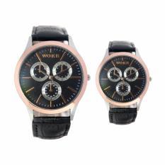 Jam Tangan Couple Unisex Analog - leather strap - 2 pilihan warna - FIN-334A CP - Silver