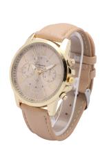 Jenewa 3888 merek perhiasan wanita gaun kasual fashion gaya Romawi kuarsa jam tangan kulit (coklat