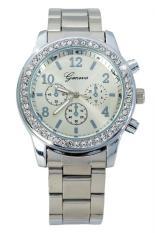 Review Geneva 632648 Jam Tangan Wanita Crystal Embellished Shiny Stainless Steel Silver Geneva