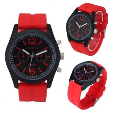 Harga Geneva Fashion Unisex Silicone Analog Quartz Wrist Watch Red Terbaik