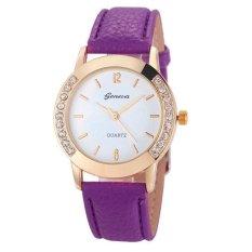 Geneva Wanita 4 Warna Tinggi Pinggang Karir Rok Pendek Slim Berlian Kuarsa Kulit Analog Wrist Watch Jam Tangan Ungu