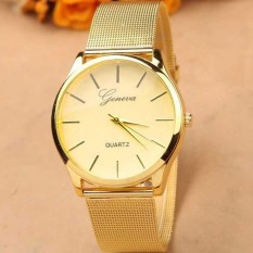 Geneva Jam Tangan Analog Pria Wanita Unisex JN Tali Strap Besi YQ001GD Diameter 35mm Women Men Watches Wristwatch Wrist Watch Stainless Steel Aksesoris Fashion Casual Elegan Stylish Trendy Modis Kuliah Kerja Kantor Jalan Simple Design - Gold