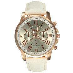 Geneva Jam Tangan Analog Wanita Strap Kulit Sintetis Woman Leather Watch 9298 - White