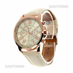 GENEVA Jam Tangan Modis Wanita Analog Fashion Women Analog Quartz Strap Wrist Watch - BEIGE