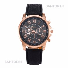 GENEVA Jam Tangan Modis Wanita Analog Fashion Women Analog Quartz Strap Wrist Watch - BLACK