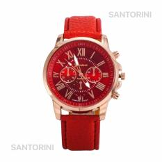GENEVA Jam Tangan Modis Wanita Analog Fashion Women Analog Quartz Strap Wrist Watch - RED
