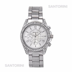 GENEVA Jam Tangan Wanita Analog Fashion Women Diamond Strap Stainless Steel Quartz Wrist Watch - SILVER