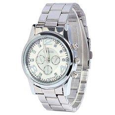 Beli Geneva Jam Tangan Wanita Analog Fashion Women Geneva Rhinestone Stainless Steel Quartz Wrist Watch Silver Cicilan
