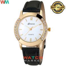 Geneva - Jam Tangan Wanita - Black Gold - Strap Leather - 003