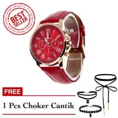 Geneva Free Choker Cantik - Jam Tangan Wanita - Merah - Strap Kulit - TPT4122705RED FREE CHOKER
