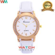 Geneva - Jam Tangan Wanita -Putih - Strap Leather - 003
