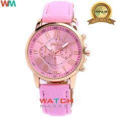 Geneva - Jam Tangan Wanita Strap Kulit Sintetis Woman Leather 001 - Pink Muda