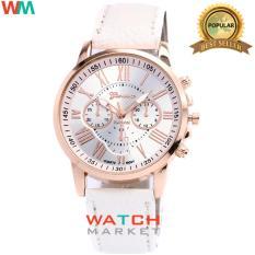 Geneva - Jam Tangan Wanita Strap Kulit Sintetis Woman Leather 001 - White