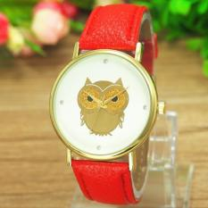 Geneva Men's Watch QUARTZ Watch Vintage Owl With Berlapis Emas Sabuk Kulit Watch-Merah-Intl