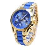 Jual Geneva Three Eyes Strip Quartz Watches Blue Geneva Original