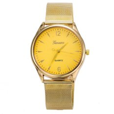 Jual Geneva Unisex Jam Fesyen Band Metal Quartz Luxury Wrist Watches Gold Geneva Original