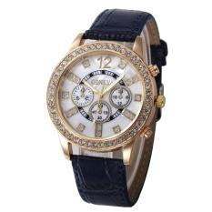 Geneva dengan Berlian Palsu Tiga Leather Watch Ladies Fashion Watch-Biru-Intl