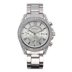 Harga Geneva Wanita Fashion Quartz Watch Alloy Wrist Watch Silver Intl Di Tiongkok