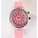 Beli Geneva Women Fashion Watch Ladies Rhinestone Led Quartz Watch Couple Luminous Wrist Watch Pink Intl Terbaru
