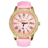 Toko Geneva Women Leather Golden Crystal Quartz Wrist Watch Murah Di Indonesia