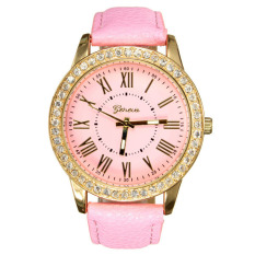 Jual Geneva Women Leather Golden Crystal Quartz Wrist Watch Murah
