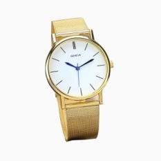 Geneve Womens Fashion Watch Stainless Steel BandWrist Watches Gold - intl