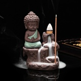 Beli George Store Hot Sell Ceramic Small Buddha Cone Smoke Back Flow Incense Burner Stick Holder Decoration Color Green Intl Terbaru