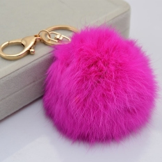 GETEK Bola Lucu Bentuk Tas Keychain Key Ring (Rose Merah)