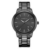 Jual Getek Pria Stainless Steel Tanggal Quartz Analog Sport Wrist Watch Hitam Termurah