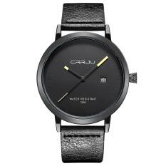 Jual Getek Pria Stainless Steel Quartz Sport Leather Band Dial Wrist Watch Hitam Murah Di Tiongkok