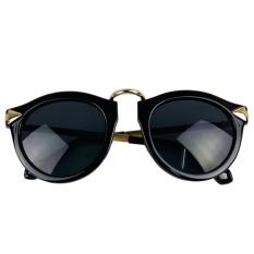 Getek Unisex Lampu Retro Bahan Kayu Damar Lensa Kacamata Hitam Bingkai Plastik (Hitam)