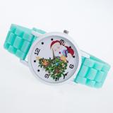 Getek Wanita Pohon Natal Anak Anak Silicone Jelly Quartz Wristwatch Watch Hijau Getek Diskon 30