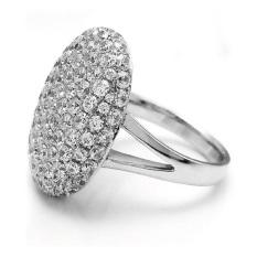 GETEK Wanita Rhinestone Damar untuk Perjamuan Wedding Alloy Cincin 17mm (Silver)
