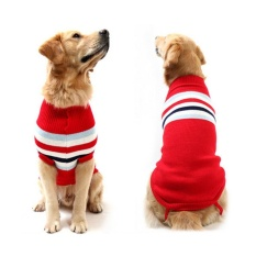 Gift English Style Striped Shirt Top T-Shirt Dogs Cotton Autumn and Winter Clothes 10inch - intl