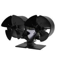 Hadiah F260 4 Blades Double Kompor Panas Penggemar Bahan Bakar Hemat Daya Kipas Kompor Ramah Lingkungan Fan untuk Home Kitchen Aksesoris Hitam-Intl