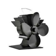 Gift Solid 4 Blades Heat Powered Stove Fan Fuel Energy Saving Aluminum Stove Fan Eco-friendly Premium Stove Fan For Home black - intl