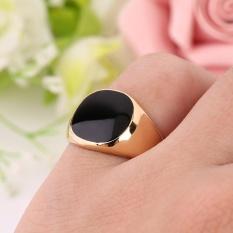 Hadiah Baja Logam Cincin 18 K Emas Plated Black Onyx Batu Keterlibatan Pernikahan Emas-Intl