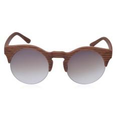 Hadiah Antik Wanita Kacamata Hitam Kayu Setengah Bingkai Kacamata Transparan UV400 Butiran Kayu Coklat-Internasional